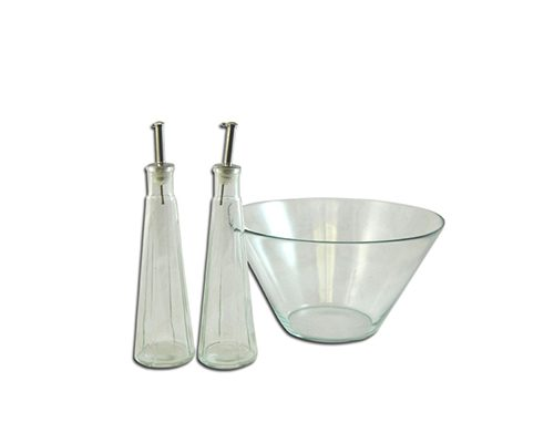 Salad Bowl with Vinegar & Oil Bottles