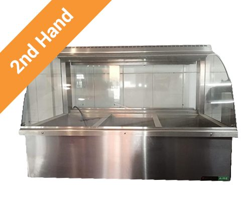 Second hand Bain Marie 3 Division Table Top Curved Glass